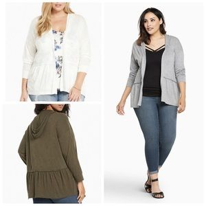 NWT TORRID Ivory Draped Open front cardigan